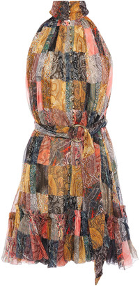 Zimmermann Patchwork-effect Printed Silk-crepon Mini Dress
