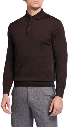 Ermenegildo Zegna Men's Long-Sleeve Cashmere-Silk Polo Shirt, Brown
