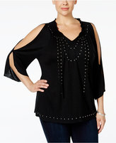 INC International Concepts Plus Size Cold-Shoulder Studded Peasant Top, Only at Macy's