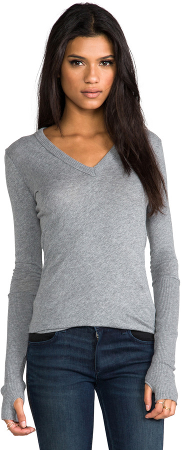 Enza Costa Cashmere Fitted Cuffed V Neck Sweater