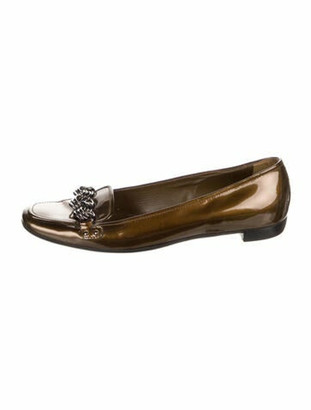 Prada Patent Leather Chain-Link Accents Flats Brown
