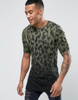 Religion T-Shirt with Split Hem and Fading Animal Print