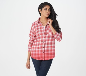Joan Rivers Classics Collection Joan Rivers Button Front Plaid Shirt with Ombre Hem