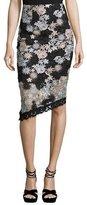 Nanette Lepore Floral Lace Asymmetric Skirt, Black/Silver