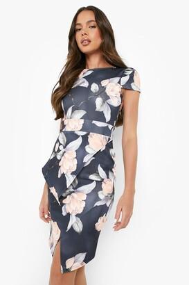 boohoo Asymmetric Peplum Floral Print Midi Dress