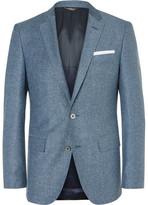 HUGO BOSS Blue Hutsons Slim-Fit Slub Virgin Wool and Silk-Blend Blazer