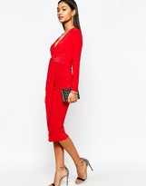 Club L Slinky Knot Detail Midi Dress