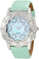 Brillier Women's 10-4C626-06 La Fleur Round Diamonds Peridots Steel Watch
