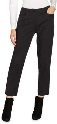 Olsen Glam Cotton-Blend Jacquard Ankle Pants