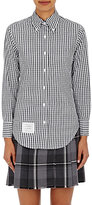 Thom Browne Women's Gingham Fitted Button-Down Blouse-NAVY