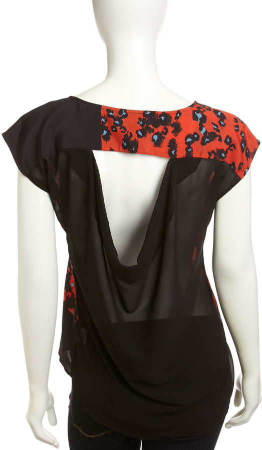 Romeo & Juliet Couture Animal-Print Cowl-Back Top