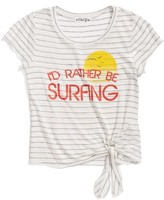 Ten Sixty Sherman Girl's I'D Rather Be Surfing Knotted Graphic Tee