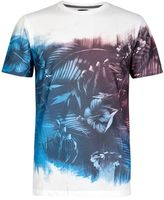 Burton Mens White, Blue And Red Floral Print T-Shirt