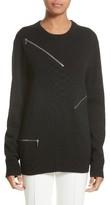Michael Kors Women's Zip Detail Cashmere & Cotton Sweater