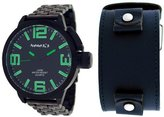 Nemesis #ST040G Men's Black IP Russian Diver Watch with Changeable Black Premium Wide Leather Strap