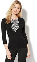 New York & Co. 7th Avenue - V-Neck Twofer Sweater - Black
