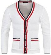 Mmoriah Men's Coloration Stripe Knit Cardigan Sweater Jumper Top