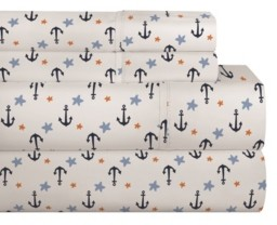 Pointehaven 200 Thread Count Cotton Percale Printed Sheet Set Bedding