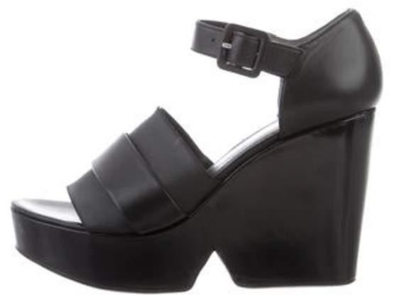 8fb87058419 Leather Platform Wedge Sandals Black Leather Platform Wedge Sandals