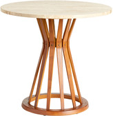 Rejuvenation Edward Wormley Sheaf of Wheat Table in Teak & Travertine
