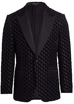 Ermenegildo Zegna Men's Velvet Burnout Wool & Silk-Blend Jacket