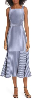 Tibi Stripe Twill Midi Dress