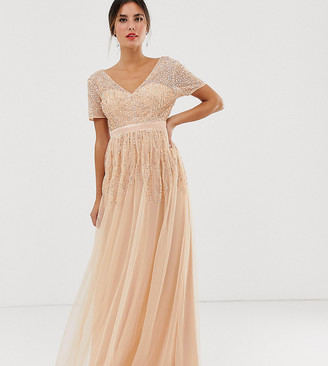 Maya mesh all over scattered sequin pleated maxi dress in soft peach