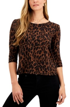 Style&Co. Style & Co Petite Cotton Printed Puffed-Shoulder Top, Created for Macy's