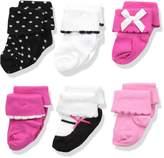 Luvable Friends Baby 6 Pair Dressy Cuff Socks