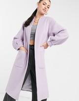 Helene Berman volume sleeve long wool blend coat in lilac