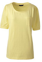 Classic Women's Elbow Sleeve Jacquard Top Navy Narrow Stripe