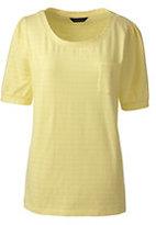 Classic Women's Petite Elbow Sleeve Jacquard Top-Midnight Indigo