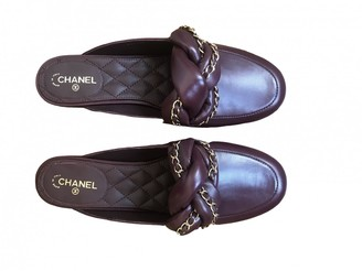 Chanel Burgundy Leather Sandals