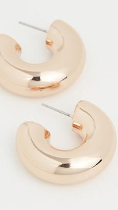 Kenneth Jay Lane Polished Gold Chubby Hoop Earrings