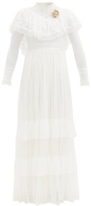 LoveShackFancy Cornella Lace And Tulle Dress - Cream