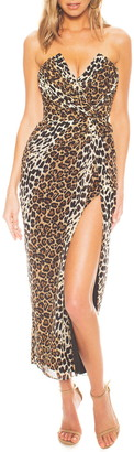 Katie May Come on Home Leopard Print Strapless Chiffon Midi Dress