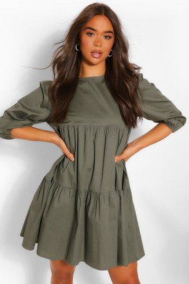 boohoo Tiered Cotton Smock Dress