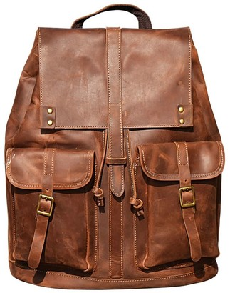Touri Genuine Leather Backpack With Two Front Pockets In Worn Look Brown