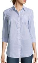 STYLUS Stylus Long-Sleeve Back-Pleat Oversized Shirt
