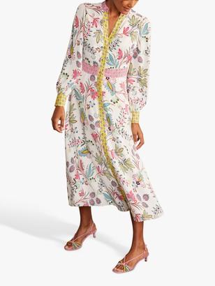 Boden Mollie Floral Bloom Print Shirt Dress, Ivory/Multi