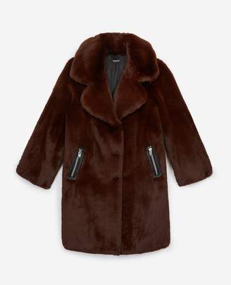 The Kooples Long brown faux fur coat
