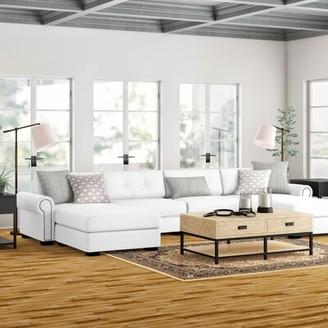 "Three Posts Willia 166"" Linen Modular Sofa & Chaise with Ottoman Fabric: Off White 100% Linen"