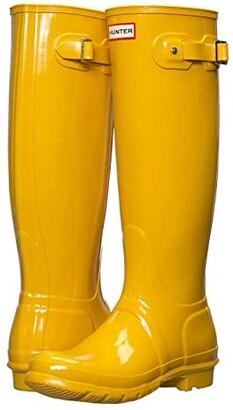 Hunter Tall Gloss Rain Boots (Black Gloss) Women's Shoes