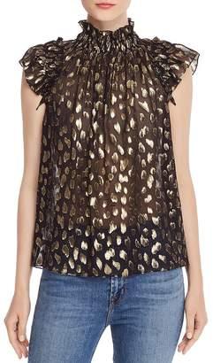 Rebecca Taylor Sleeveless Leopard-Print Metallic Top