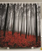 Fabric Shower Curtain Farmhouse Country Home Woodland Decor by Ambesonne, Mystic Forest Trees and Leaves Red Grass Modern Art Flower Rainy Foggy Gray Scene Print , 69x70 Inches Long, Black and Gray
