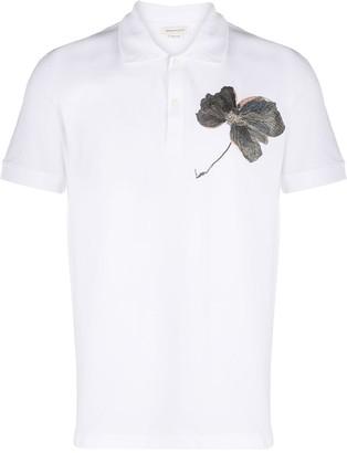 Alexander McQueen Embroidered Flower Polo Shirt