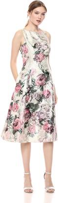 Adrianna Papell Women's Printed Jacquard Sleeveless Tea-Length Dress