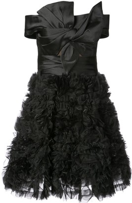 Marchesa off the shoulder ruffled mini dress