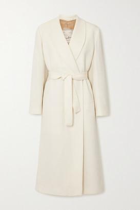 Giuliva Heritage Collection Net Sustain The Linda Belted Herringbone Wool-blend Coat - White