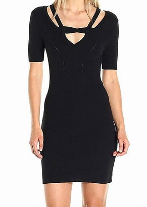 Minnie Rose Women's Short Sleeve Sweater Dress with Semi Cold Shoulder